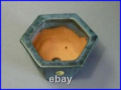 Tokoname Bonsai Pot Shuho Matte Green Hexagon 135mm à 120mm à 78mm