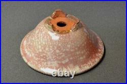 Tokoname Bonsai pot HATTORI Round White with Vermilion 160mm(diameter) x 73mm