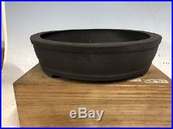 Unglazed Dark Clay Oval Bonsai Tree Pot Made By Shibata Keizan 15 1/2