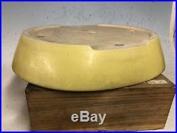 Yellow Glazed Oval Tokoname Bonsai Tree Pot By Koyo 14 3/4